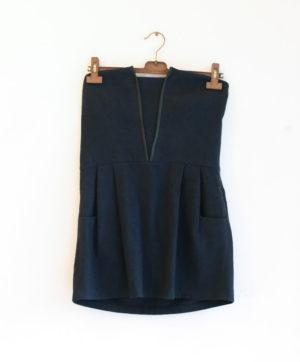 LES PRAIRIES DE PARIS robe mini carreaux noir et bleu marine gansée cuir T2 - 30€